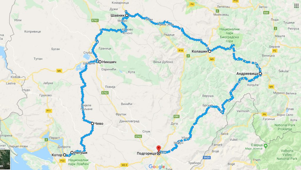 карта маршрута похода по Черногории